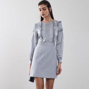 REISS 'Karter' Ruffle-Trimmed Satin Dress